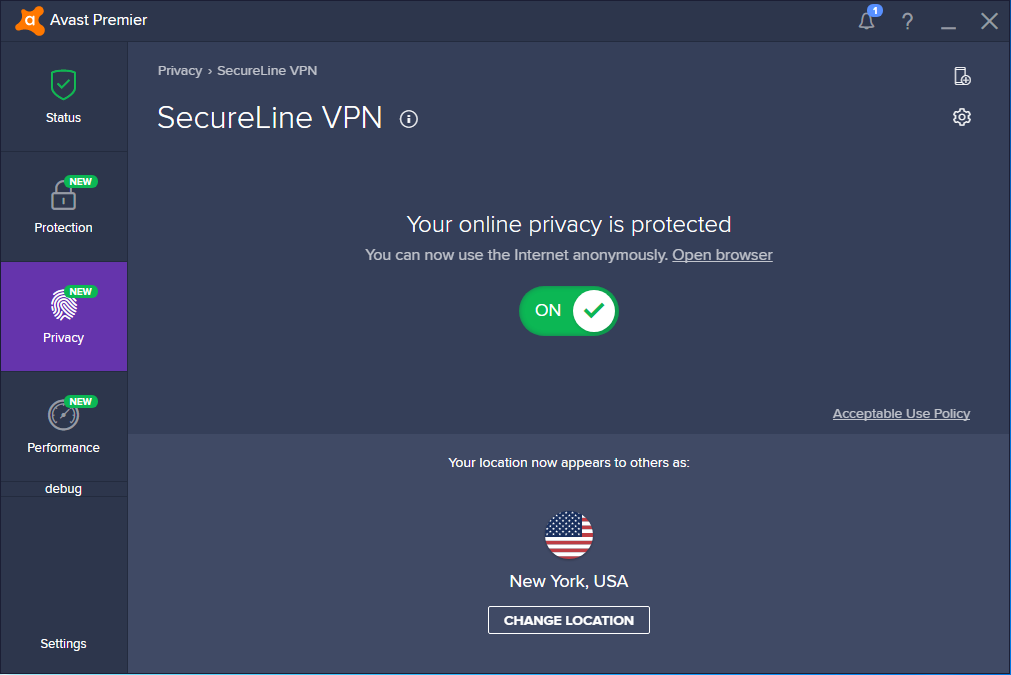 Avast-SecureLine-connected-to-USA-NY